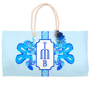 Dragon Crest Tote Bag, Lapis