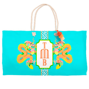 Dragon Crest Tote Bag, Lagoon