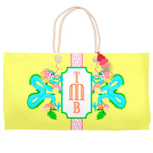 Dragon Crest Tote Bag, Yellow Lotus