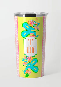 Dragon Crest Stainless Steel Travel Tumbler, Yellow Lotus