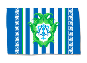 Navy Banana Leaf Crest - Coral - Lightweight Cotton Rug