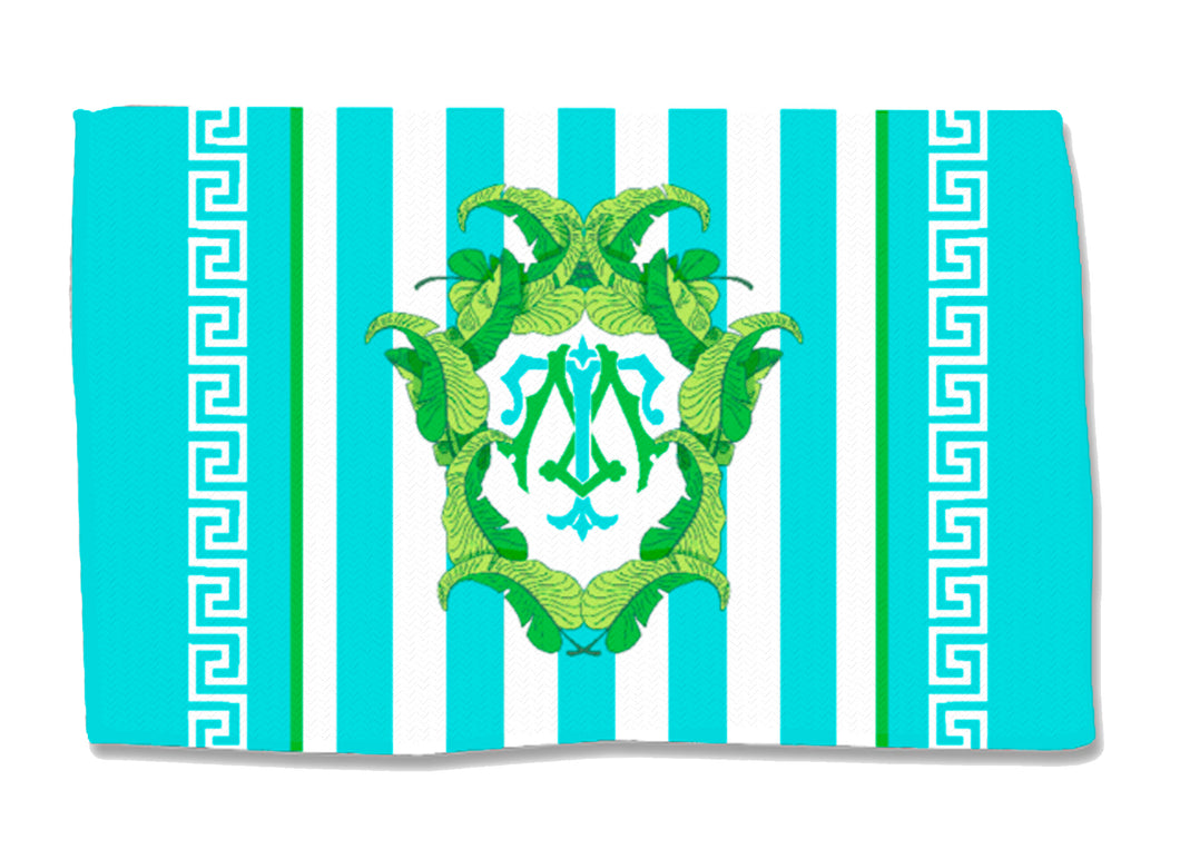 Turquoise Banana Leaf Crest - Coral - Lightweight Cotton Rug