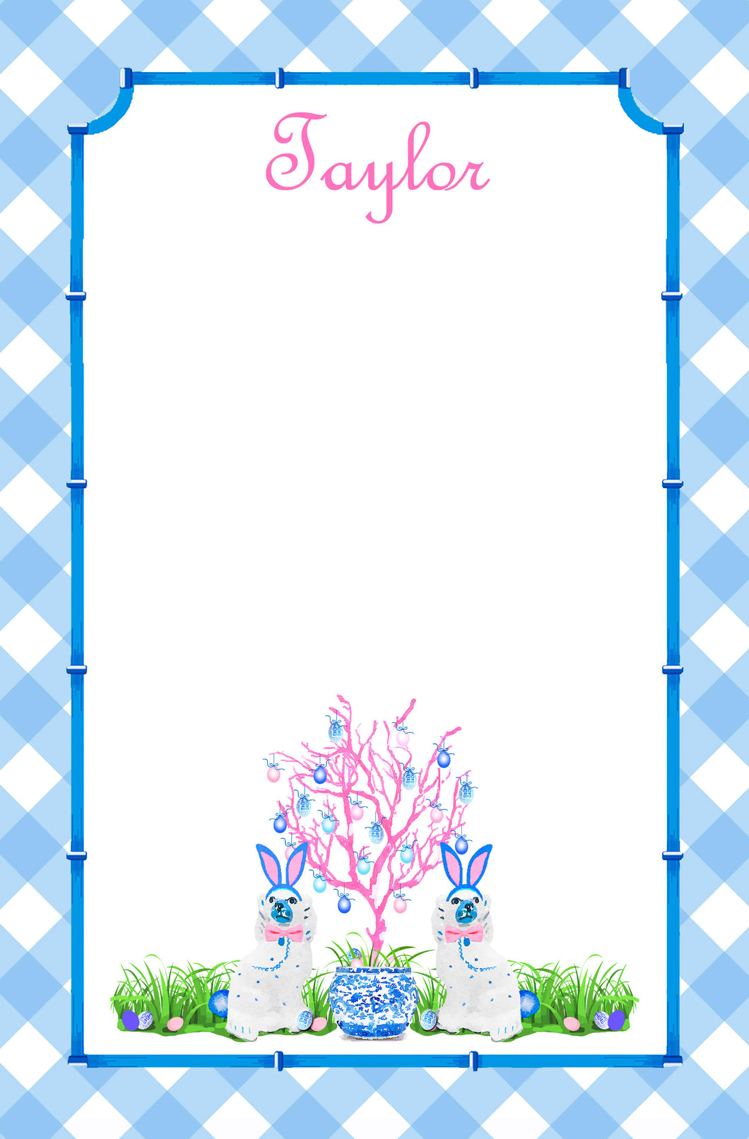 Spring Staffies Personalized Easter Notepad; Multiple Sizes Available, Blue