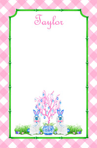 Spring Staffies Personalized Easter Notepad; Multiple Sizes Available, Pink