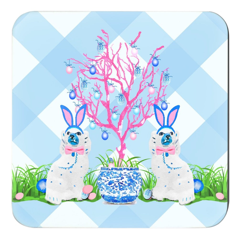 Spring Staffies Cork Backed Easter Coasters - Set of 4, Blue