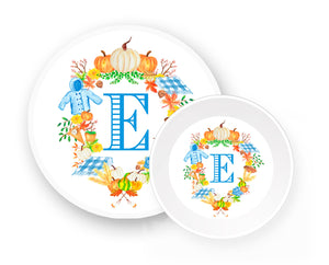 Custom Boys' Fall Crest Melamine Plate & Bowl Set