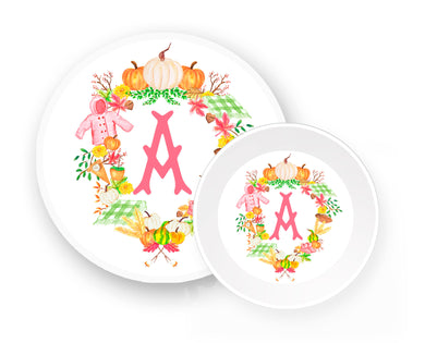Custom Girls' Fall Crest Melamine Plate & Bowl Set