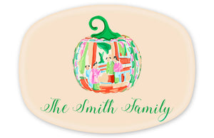 Famille Rose Pumpkin Personalized Thanksgiving Melamine Platter, Foddershock