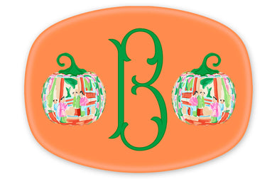 Famille Rose Pumpkin Personalized Thanksgiving Melamine Platter, Squash