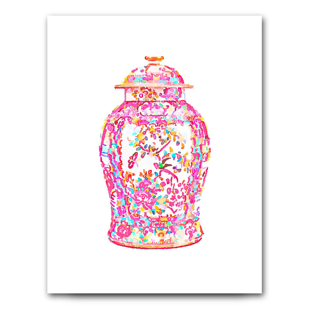 Famille Rose Ginger Jar Art Print