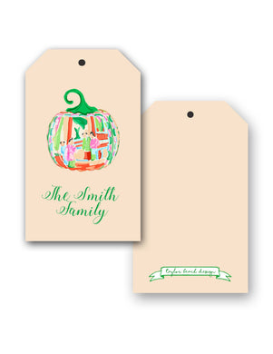Famille Rose Pumpkin Personalized Thanksgiving Hang Tags, Foddershock