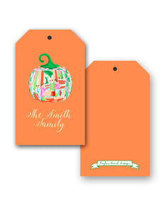 Famille Rose Pumpkin Personalized Thanksgiving Hang Tags, Squash
