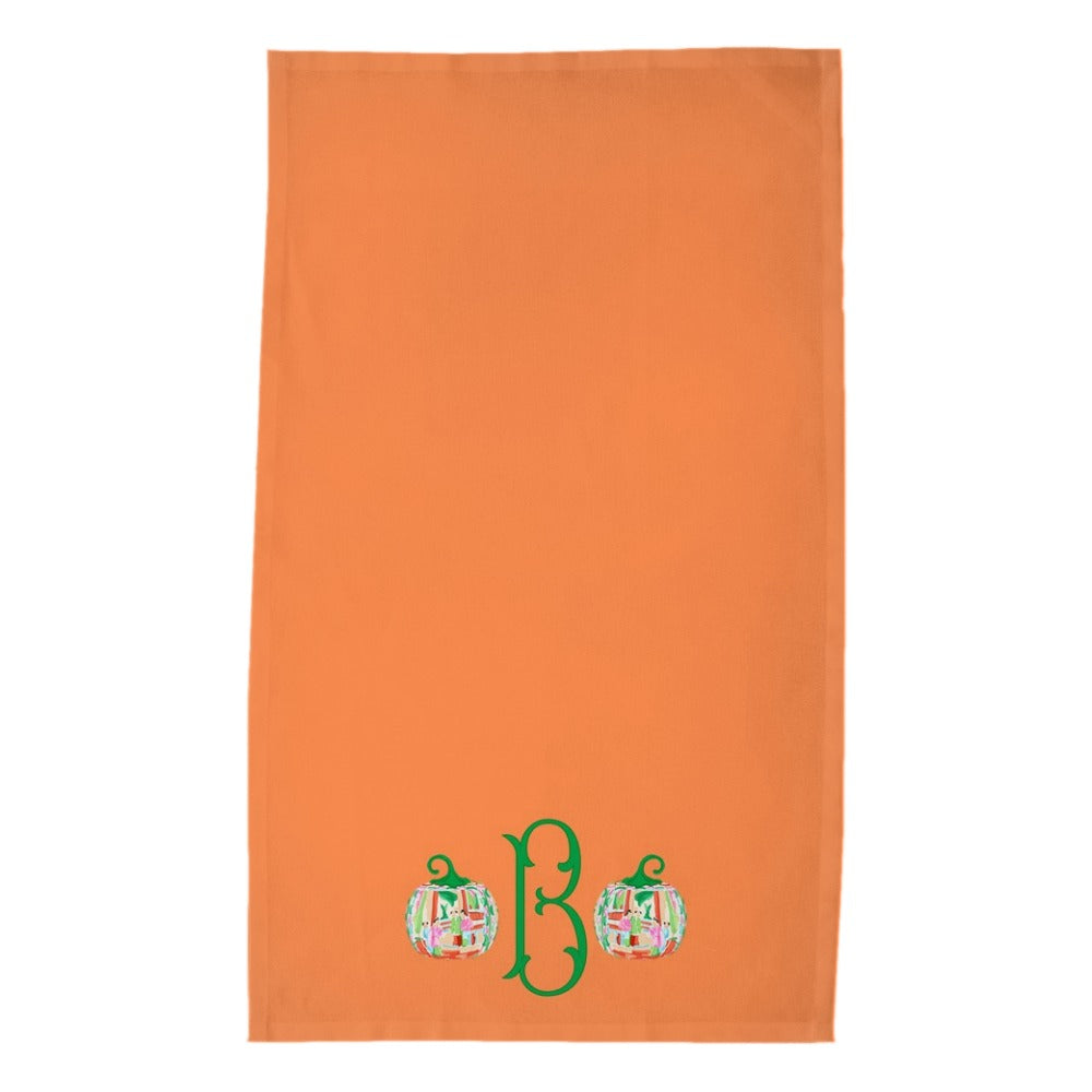Famille Rose Pumpkin Personalized Poly Twill Thanksgiving Tea Towels, Set of 2, Squash