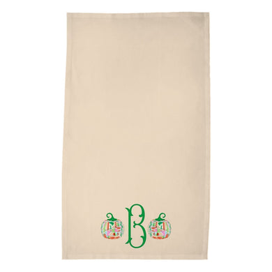 Famille Rose Pumpkin Personalized Poly Twill Thanksgiving Tea Towels, Set of 2, Foddershock