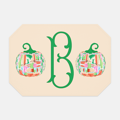 Famille Rose Pumpkin Set of (2) Personalized Fabric Placemats, Foddershock