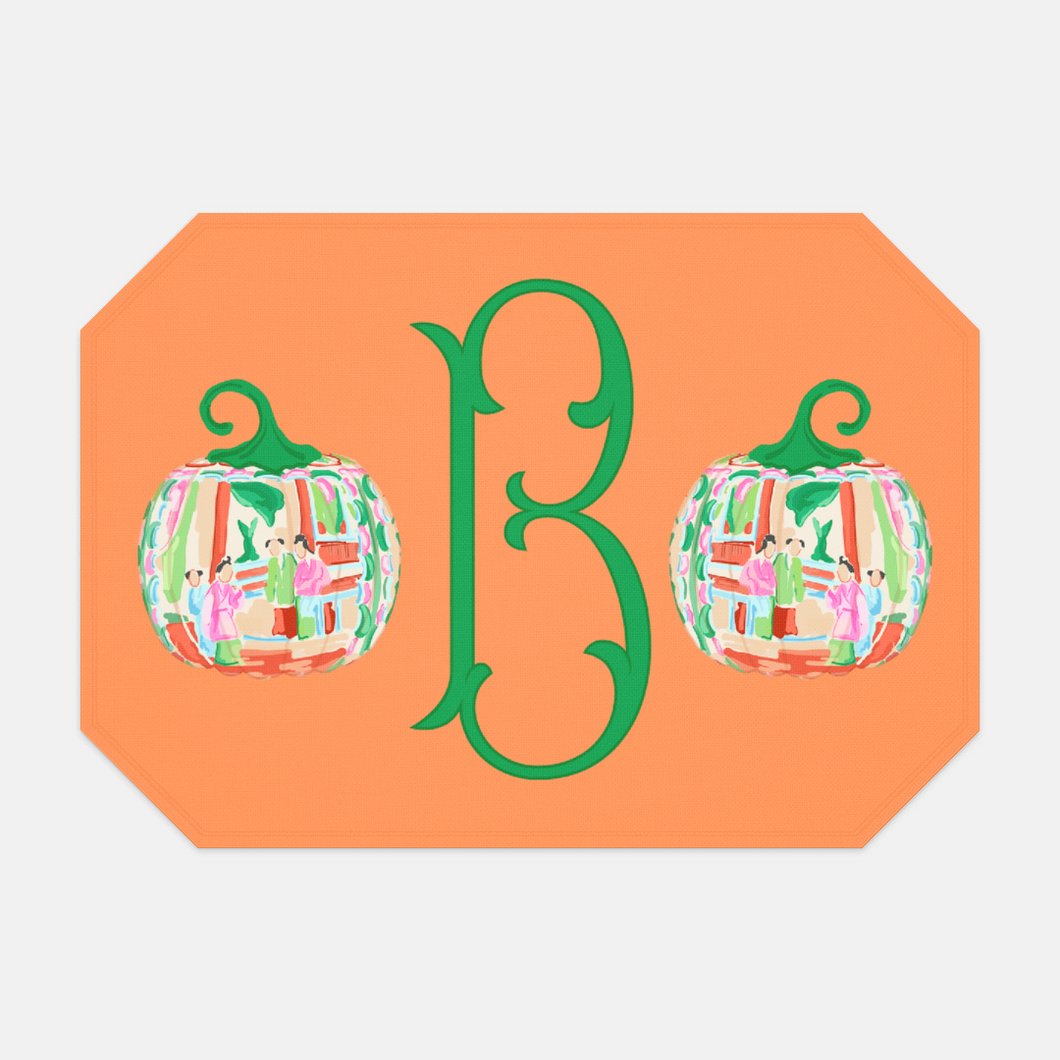 Famille Rose Pumpkin Set of (2) Personalized Fabric Placemats, Squash