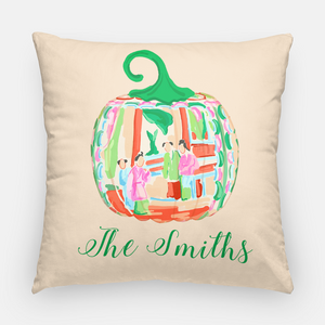 "Famille Rose Pumpkin Personalized 20""x20"" Pillow Cover, Foddershock"