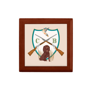 Men's Dove Hunt Personalized Custom Crest Wooden Keepsake Box