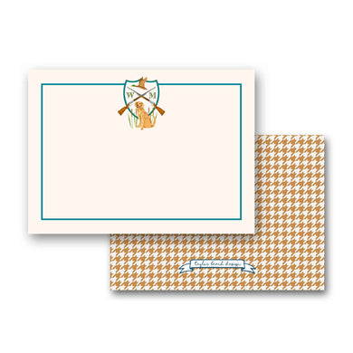 Men's Duck Hunting Custom Crest Personalized Flat Note Cards