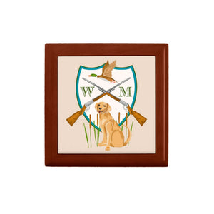 Father's Day Custom Duck Hunting Crest Personalized Wooden Keepsake Box