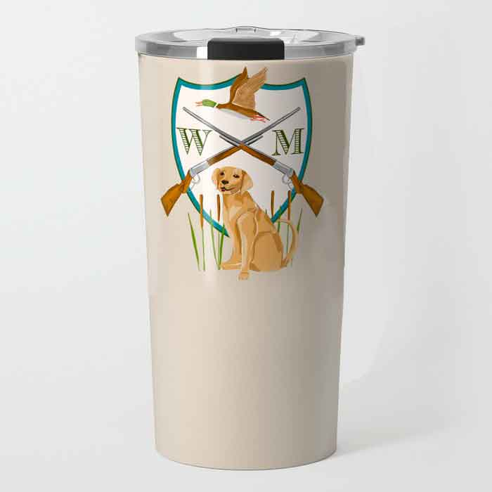 Men's Duck Hunting Crest Personalized Travel Tumbler