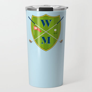 Men's Custom Golf Crest Personalized Travel Tumbler