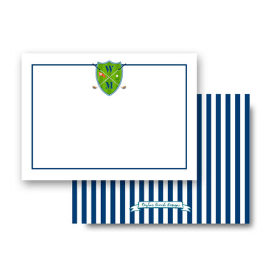 Men's Golf Custom Crest Personalized Flat Note Cards