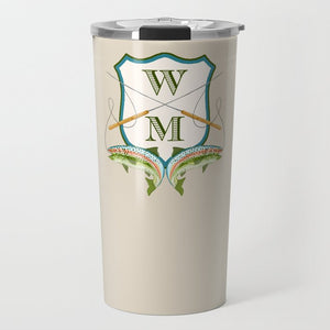 Men's Rainbow Trout Personalized Crest Travel Tumbler