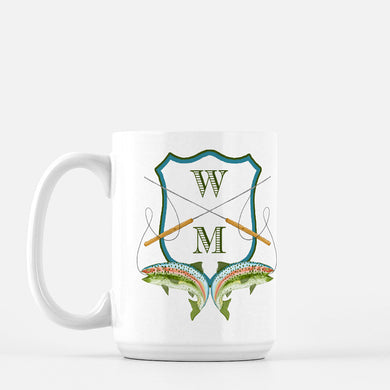 Men's Custom Rainbow Trout Crest Personalized Mug