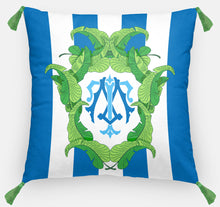 "Load image into Gallery viewer, Banana Leaf Crest Personalized Pillow, Aegean,18""x18"" or 20""x20"", (2) Monogram Styles"