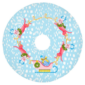 "Fancy Foo Reindeer Holiday Tree Skirt, 44"" dia., Winter Blue"