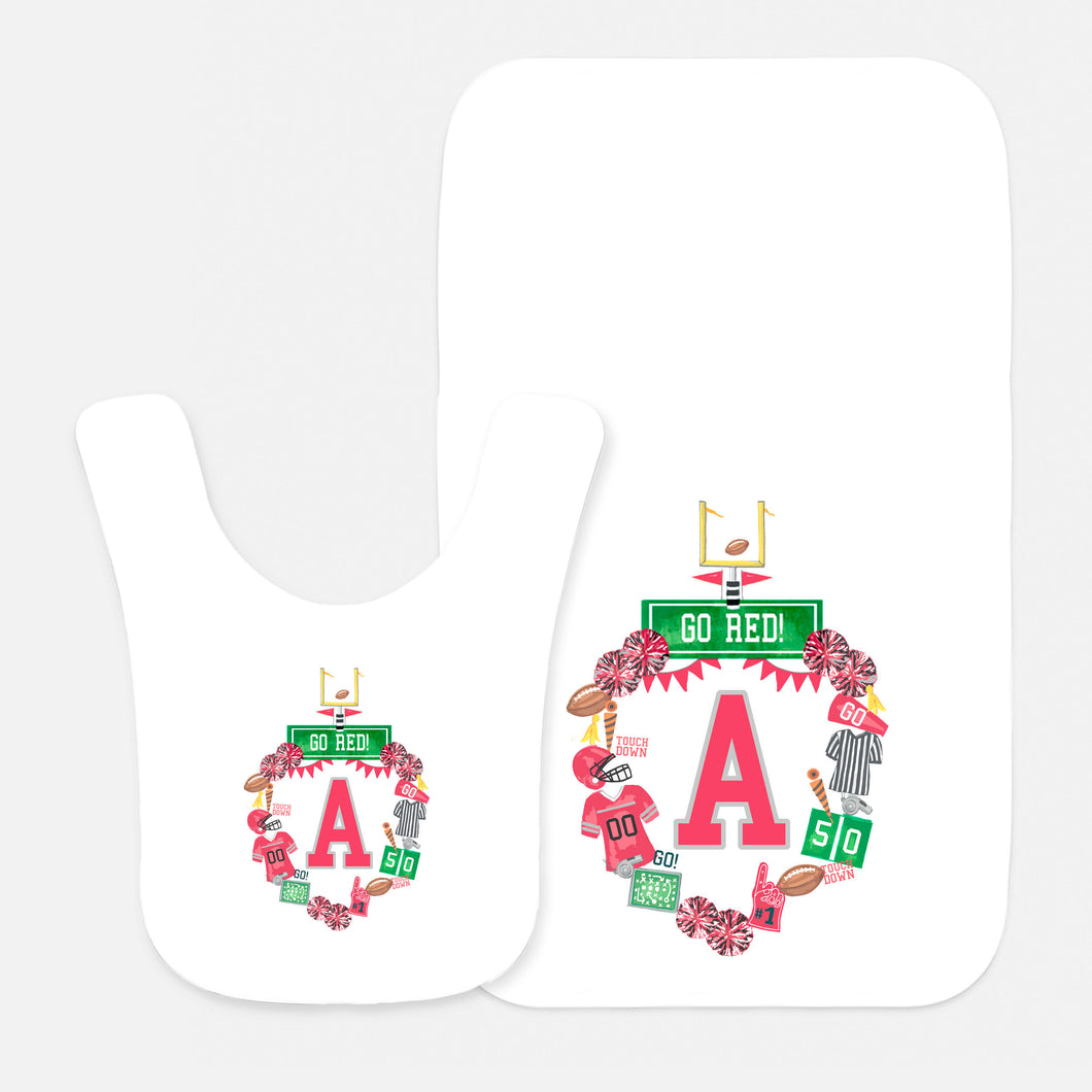 Custom Football Crest Bib & Burp Cloth Gift Set