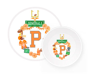 Custom Football Crest Personalized Melamine Plate & Bowl for Children