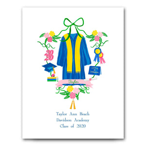 Personalized Graduation Crest for Girls Art Print