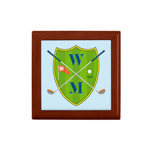 Men's Custom Golf Crest Personalized Wooden Keepsake Box