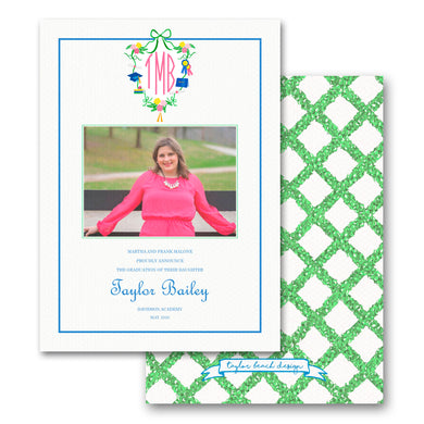 Graduation Announcement with Personalized, Custom Crest