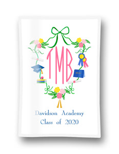 "Graduation Crest Personalized 5""x7"" Rectangular Glass Trinket Tray"