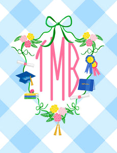 Graduation Crest Monogrammed Folded Note Cards, Blue Buffalo Check