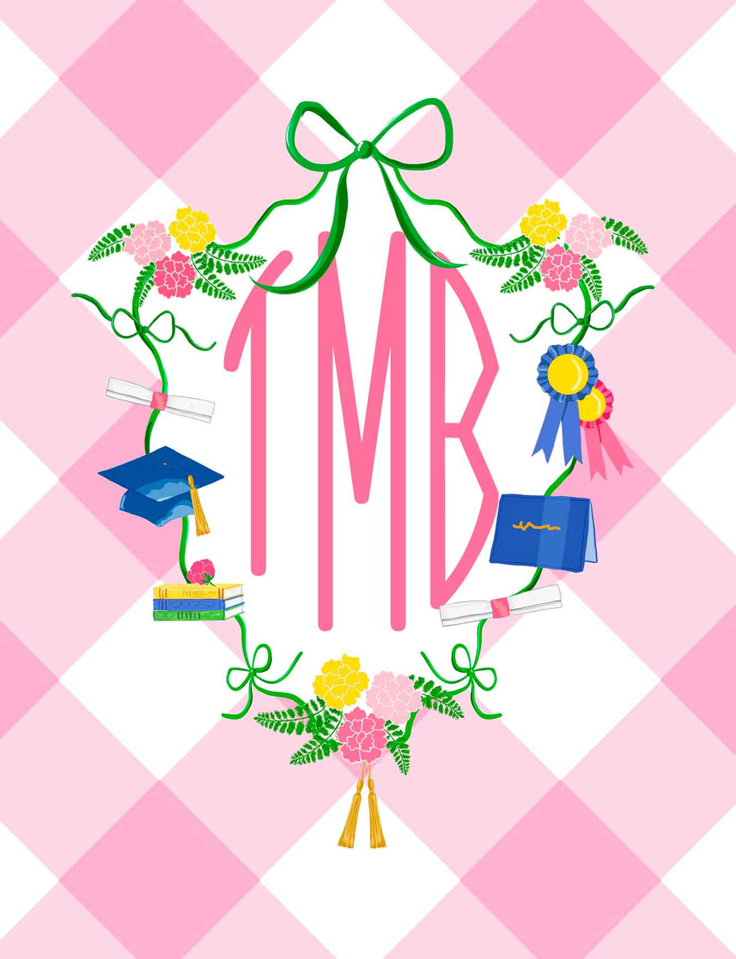 Graduation Crest Monogrammed Folded Note Cards, Pink Buffalo Check