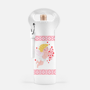 Grandmillennial Cupid Valentine's Wine Carrier with Cork Screw