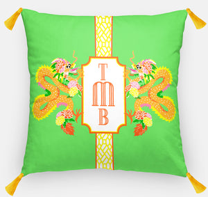 "Dragon Crest Personalized Pillow, Bamboo, 18""x18"" or 20""x20"""