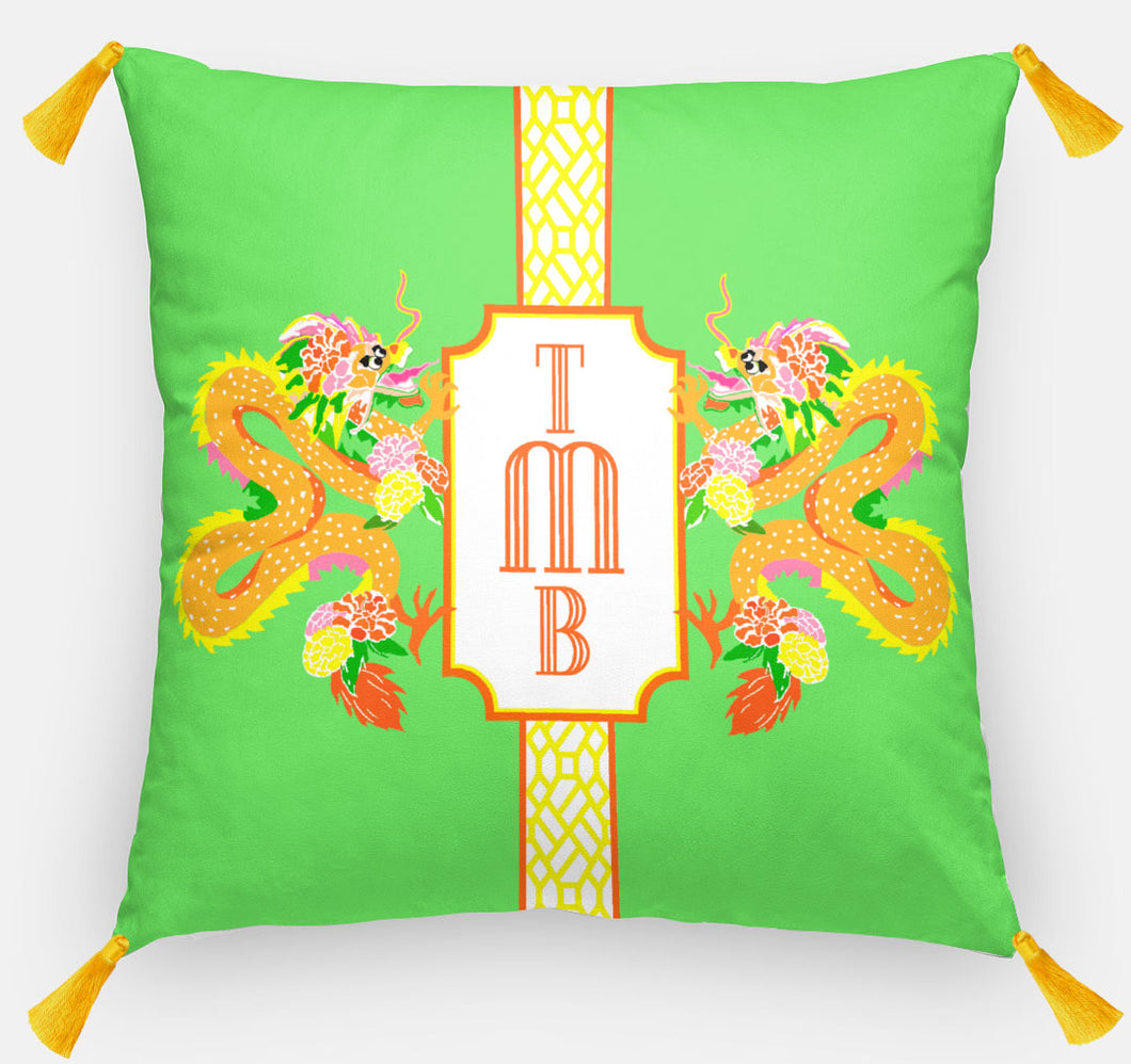 Dragon Crest Personalized Pillow, Bamboo, 18