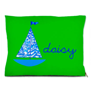Chinois Sailboat, Fern, Personalized Pet Bed, (3) Sizes Available