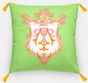 "Seashell Crest  Personalized Pillow, Seaweed,18""x18"" or 20""x20"""