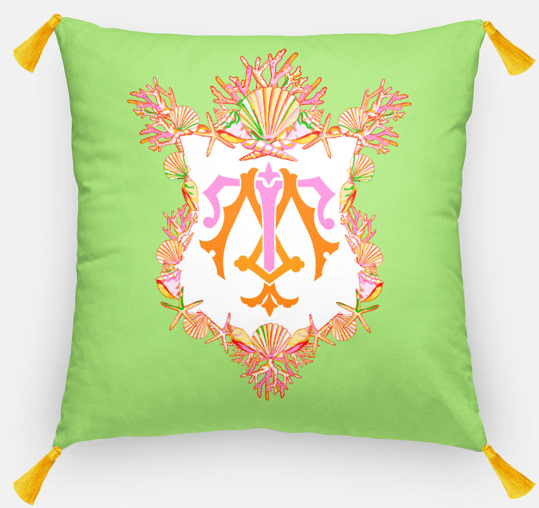 Seashell Crest  Personalized Pillow, Seaweed,18