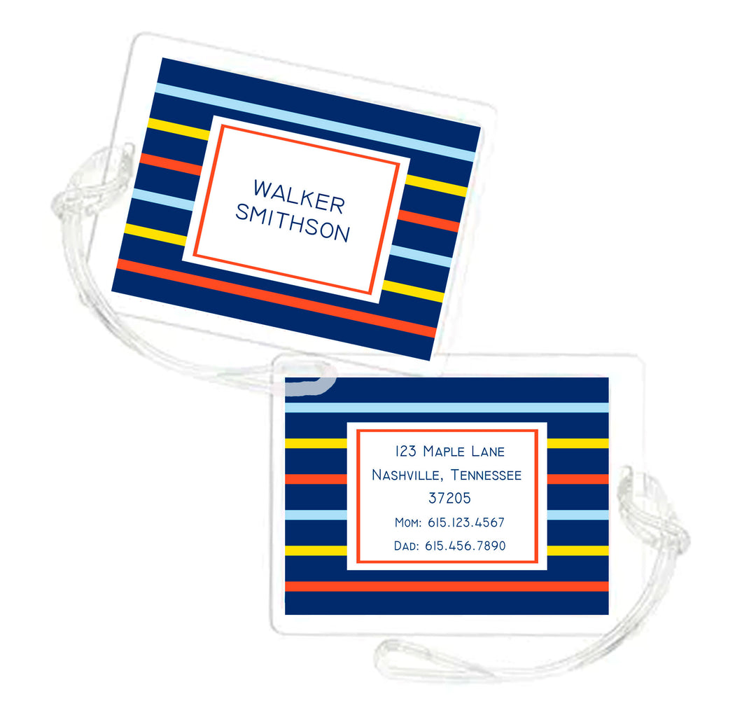 Handsome Stripe Personalized Laminated Bag Tag