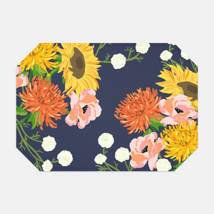 Hello Fall Fabric Placemat Set, Navy
