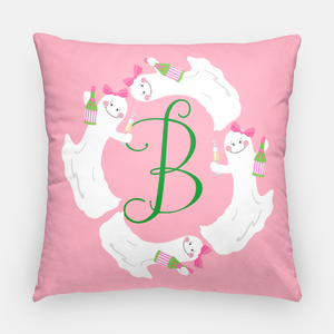 "Here for the Boos Personalized Halloween 20""x20"" Pillow Cover, Pink"
