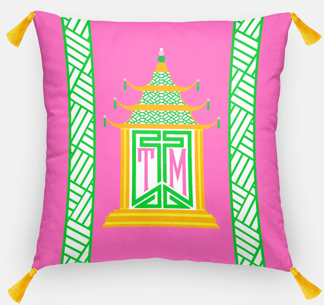 Royal Pagoda Personalized Pillow, Tourmaline,18
