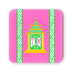 Royal Pagoda, Tourmaline, Cork Backed Coasters - Set of 4